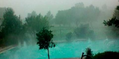 They Film Dark Clouds Rolling In, But Watch What Happens To Their Pool…