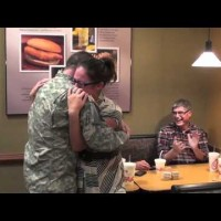 Soldier Returns Home and Surprises Wife and Family Eating Dinner. I'm In Tears